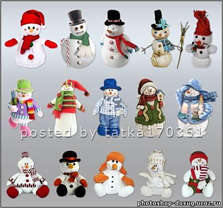 Клипарт для фотошопа снеговики в